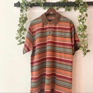 ORVIS Striped Knit Textured Polo Shirt XL
